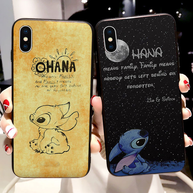 1528e72708 Lilo Stitch Ohana Cases For iPhone X Soft Silicone Case for iPhone XR XS  Max 5S SE 6 6S 7 8 Plus Cover Phone TPU Capinha Coque