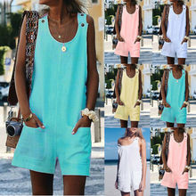 Women Summer Casual Sleeveless Playsuit Loose Linen Cotton Jumpsuit Dungarees Spaghetti-Strap V Neck Pockets Rompers