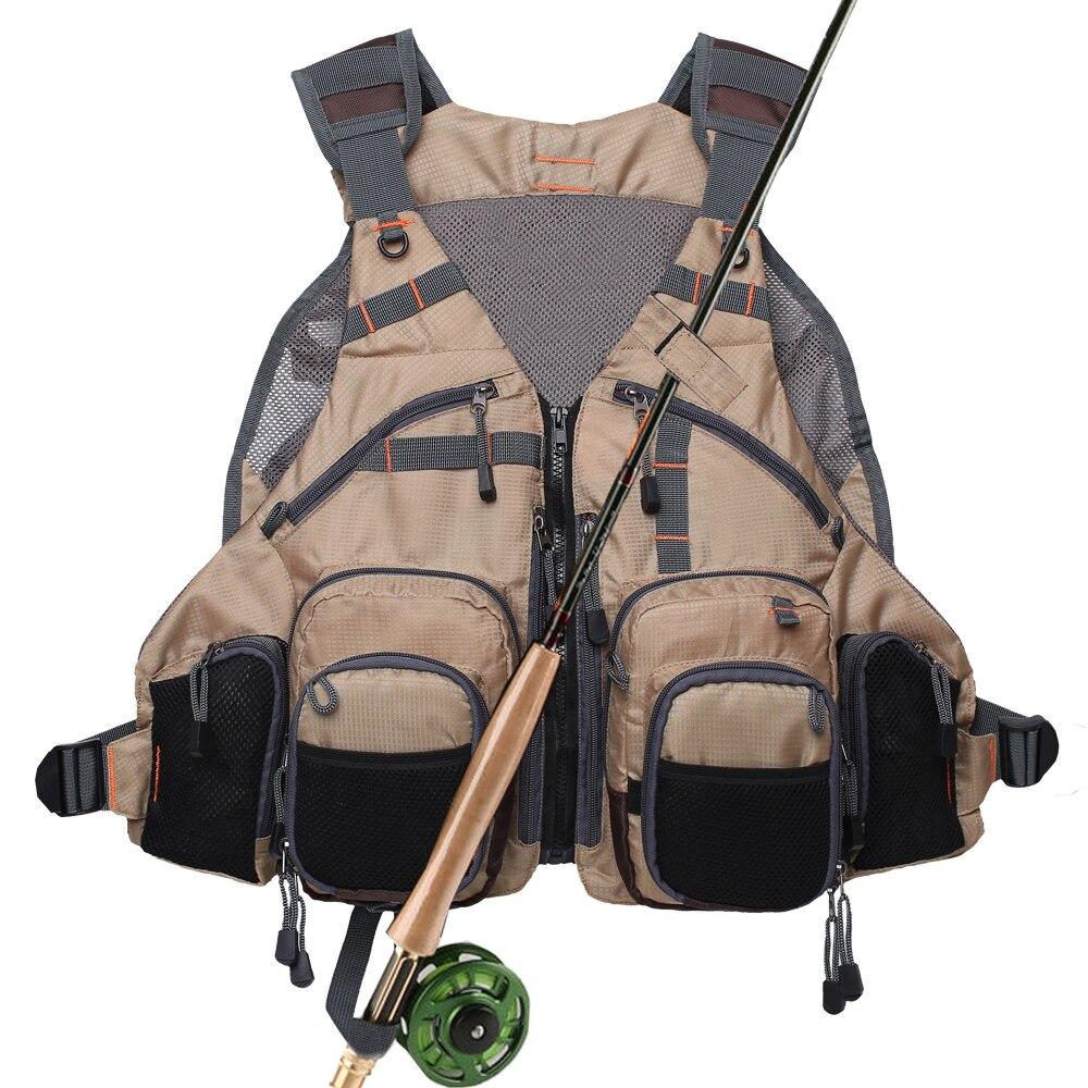 Gilet de pêche avec poches multifonctions réglable-taille pour hommes et femmes maille mouche basse pêche sac à dos activités de plein air