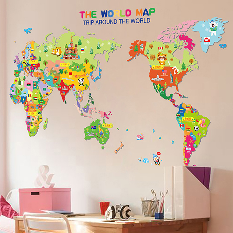 World map sticker for wall home design finest cute animal world map vinyl wall stickers for kids rooms living room home decorations pvc gumiabroncs Image collections