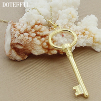 Factory Price Fashion Gold Necklace Jewelry Women Key Pendant Round Thin Chain Jewelry Necklace