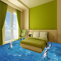 Free Shipping high quality floor wallpaper 3D Sea World Dolphin Ladder Floor Painting paste children room walkway floor mural