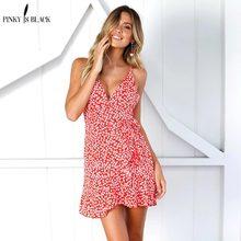 купить PinkyIsBlack Lace up ruffle strap summer dress women V neck backless short boho dress 2018 Streetwear red casual dress vestidos по цене 891.33 рублей