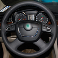 Black Artificial Leather DIY Hand-stitched Steering Wheel Cover for Skoda Octavia Octavia a5 a 5 Superb 2012-2013