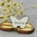 Girls Name Butterfly Necklace Silver Engraved Butterfly Pendant Necklace Personalized Baptism Necklace Enjoy Freedom