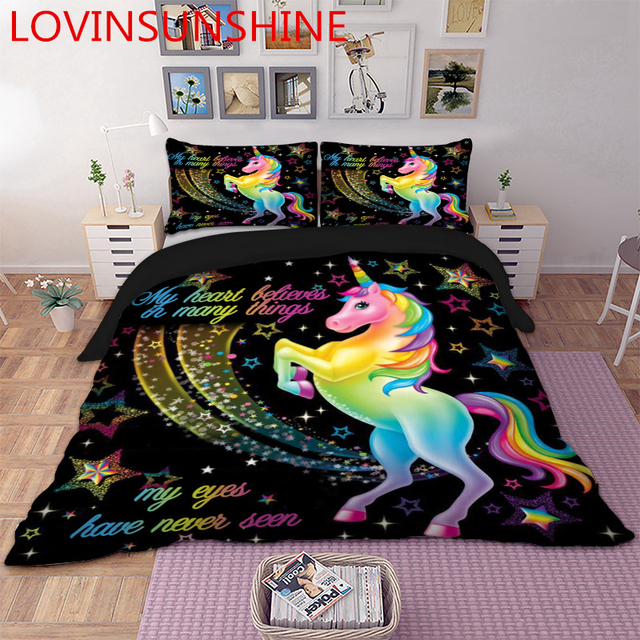 LOVINSUNSHINE Cartoon Unicorn חמוד סט מצעים שמיכה כיסוי סט לילדים ילדי שמיכה כיסוי סט מלכת מלך גודל AU01 *