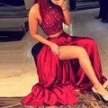 2 Pieces Grand Sparkly Beading 2016 Red Evening Dress Off Shoulder A-line High Side Slit Prom Gowns Custom Robe De Soiree