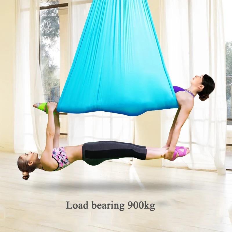 Nouveau sport 5 M x 2.8 M Yoga aérien Hamac ensemble Yoga balançoires ensemble complet Settira Estera d'inversion mouche Yoga balançoire Air Hamac lit