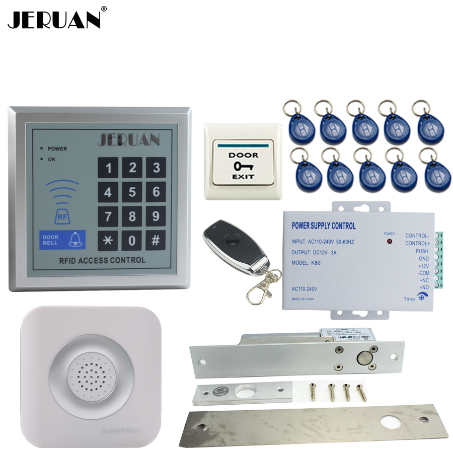 JERUAN New RFID Password Access Controller Door control system kit +Remote control + Exit Button +Doorbell + Drop Bolt lock 6000 user password door access control system door exit