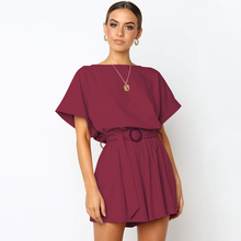 new women's spring and summer jumpsuit round neck short sleeve casual strap sexy jumpsuit with belt