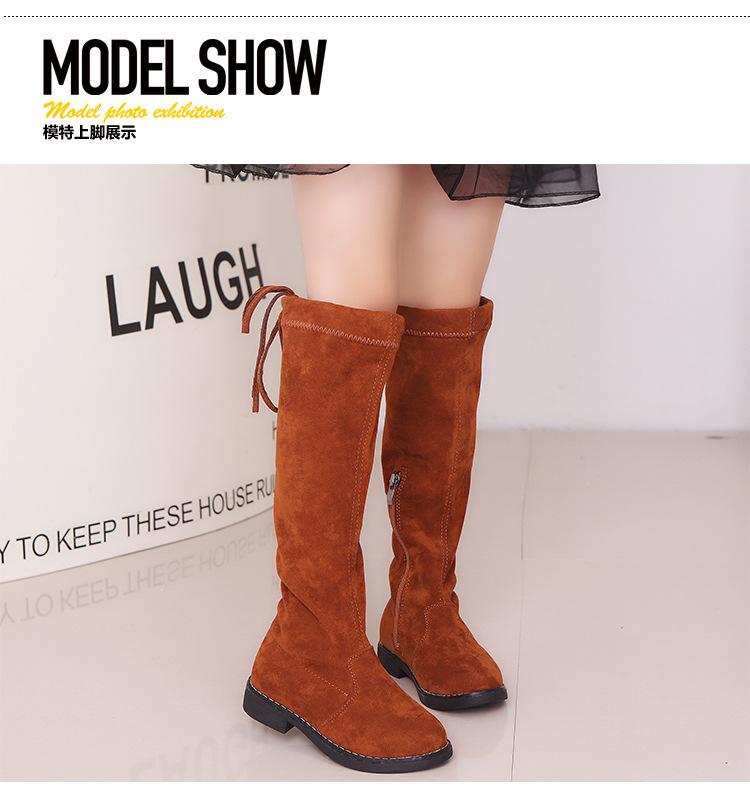 Princesa moda Primavera invierno botas negro rojo marrón Size26-37 Casual  niños calzado Vintage zapatos niñas rodilla-Botas largas. undefined 95ab378810bd6
