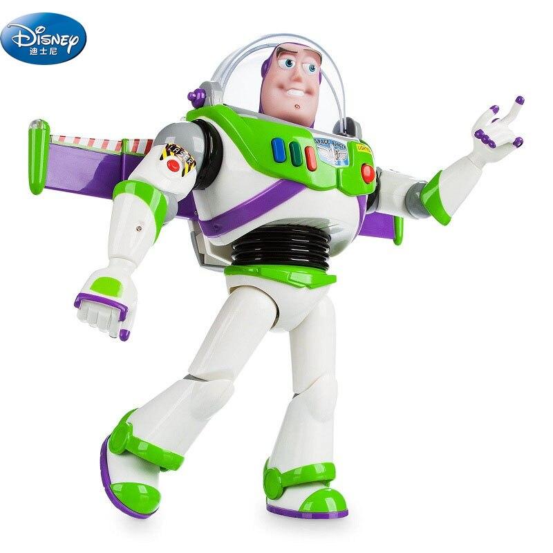 Figurines de jouets d'action Disney poupée amusante multilingue jouet lumineux vocal histoire Buzz Lightyear jouet poupée