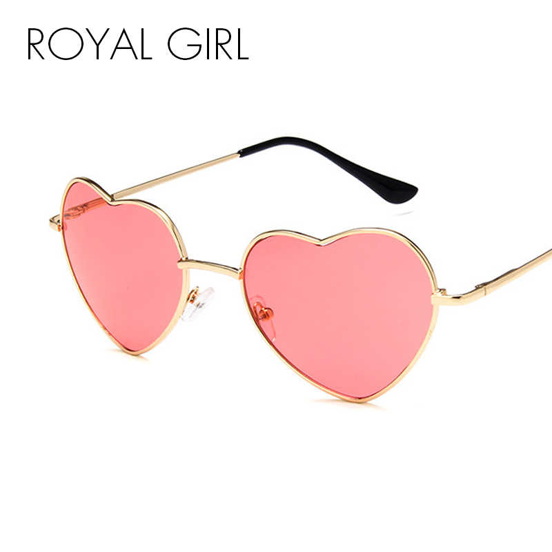 b0ac82d665607 ROYAL GIRL Heart Shaped Sunglasses Women Brand Fashion Metal Frame  Reflective Lens Sun Glasses for Women