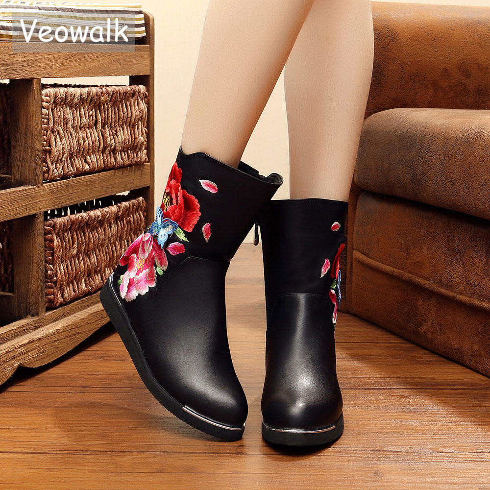 Veowalk Fleur Brodé Mode Hiver Femmes Noir Court Cheville Bottes Dames Chaud De Fourrure Chaussures Zapato Mujer Importé PU En Cuir