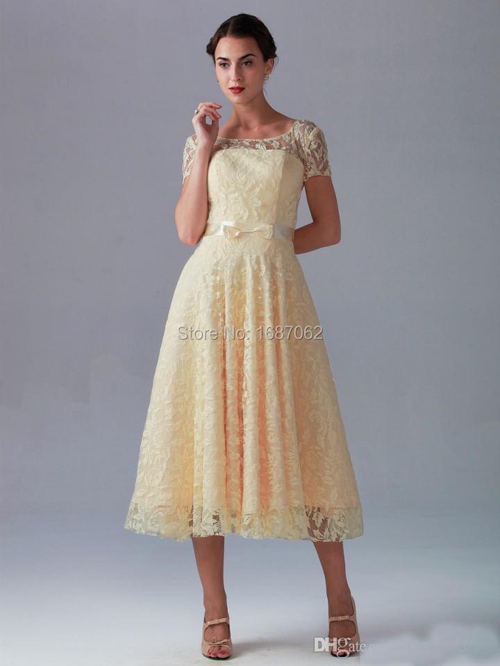 Yellow Tea Length Bridesmaid Dresses - Wedding Dress Ideas