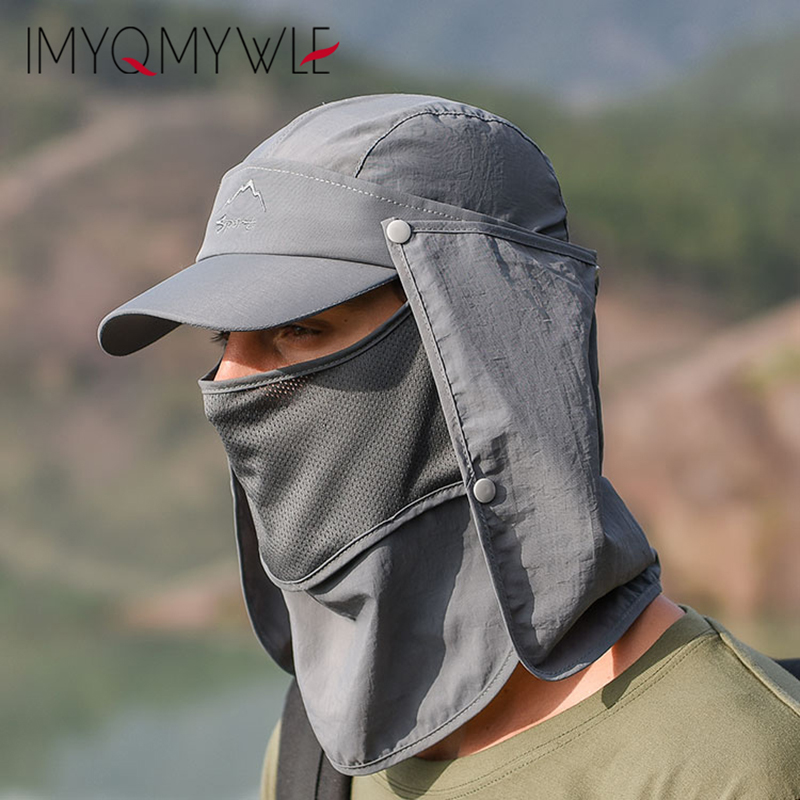 New Summer Sun Visor Hats for Men Women UV Protection Flap Hiking Fishing Outdoor Removable Mask Neck Cover Quick Drying WH107 in Men 39 s Sun Hats from Apparel Accessories