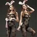 Huarache aire 2016 sexy body nuevo gusto de la moda camisola transparente archivo Abierto body sexy lingerie catsuit de látex en forma de corazón