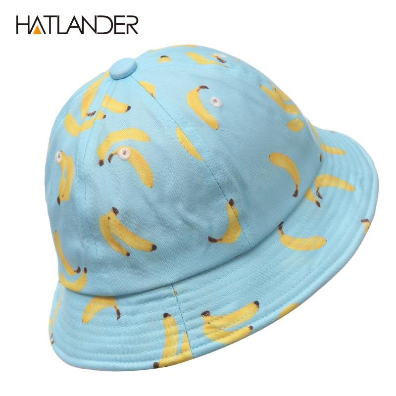 a886b48a [HATLANDER]Women Banana bucket hat men panama hat unisex cotton bob caps  girls boys hip hop cool outdoor sports beach sun hats-in Bucket Hats from  Apparel ...
