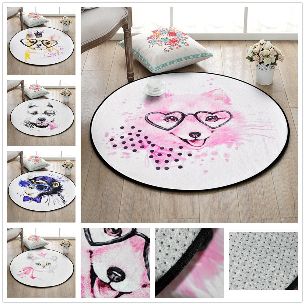 Fashion Cartoon Animals Rug Print Round Doormat Modern Style Non-Slip Pad Carpet Rugs For Living Room Kids Room Decor Floor Mats