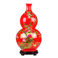 Traditional Chinese Antique Enamel Ceramic Big Floor Vase 61cm Height Large Porcelain Gourd Decoration Vase