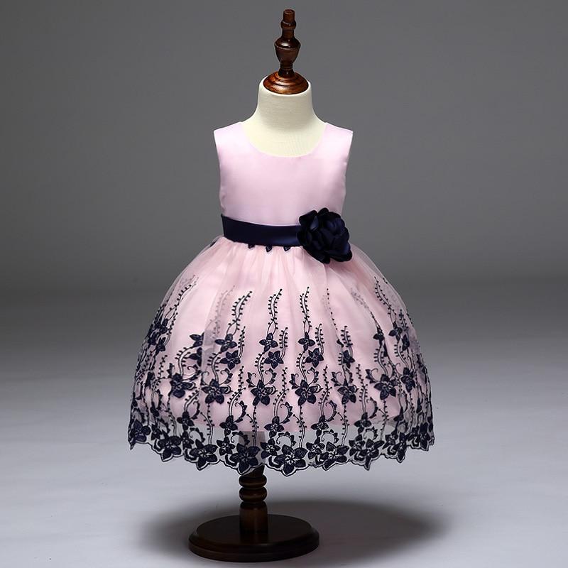 Retail Embroidery Elegant High Quality Girls Wedding Dress Black Flower Girls Communion Dress Evening Prom Dress L9056