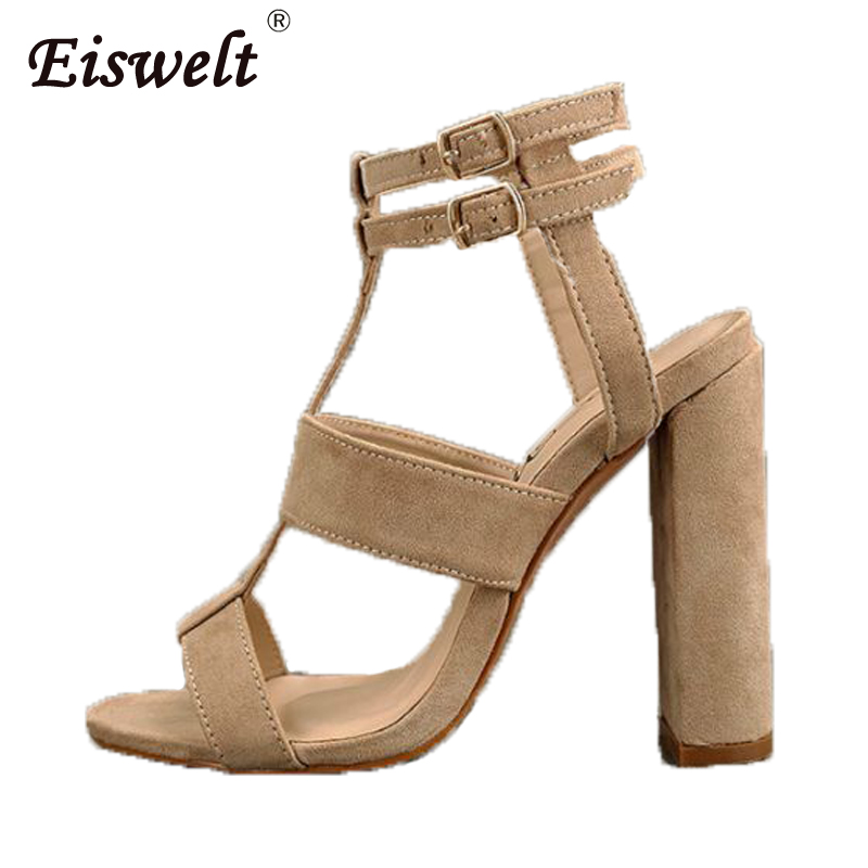 EISWELT Women Sandals Plus Size Ankle Strap Summer Shoes Sandals Mujer Thick High Heels Gladiator Sandals Women Pumps 9CM
