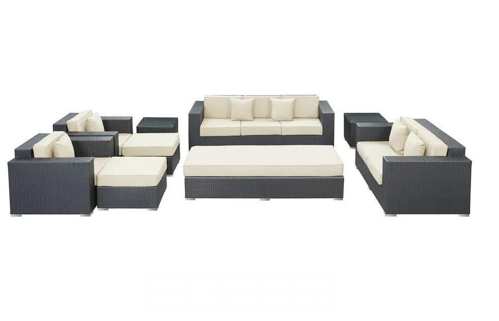 outdoor rattan furniture patio 9 pieces sofa set white cushions