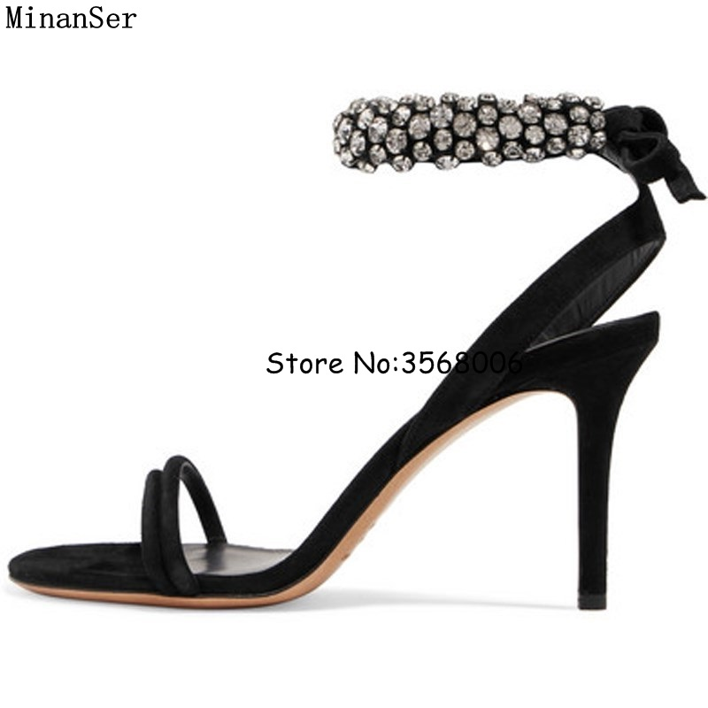 Elegant Black Suede Rhinestone Ankle Wrap Sandals Shoes Woman Party Dress High Heels Handmade Crystal Shinny