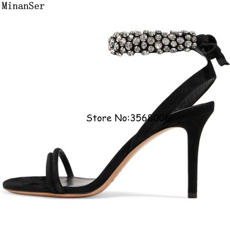 สง่างามสีดำหนังR Hinestoneข้อเท้าตัดรองเท้าแตะรองเท้าผู้หญิงพรรคชุดรองเท้าส้นสูงที่ทำด้วยมือคริสตัลS Hinnyรองเท้าแต่งงานปั๊ม-ใน รองเท้าส้นสูง จาก รองเท้า บน   1