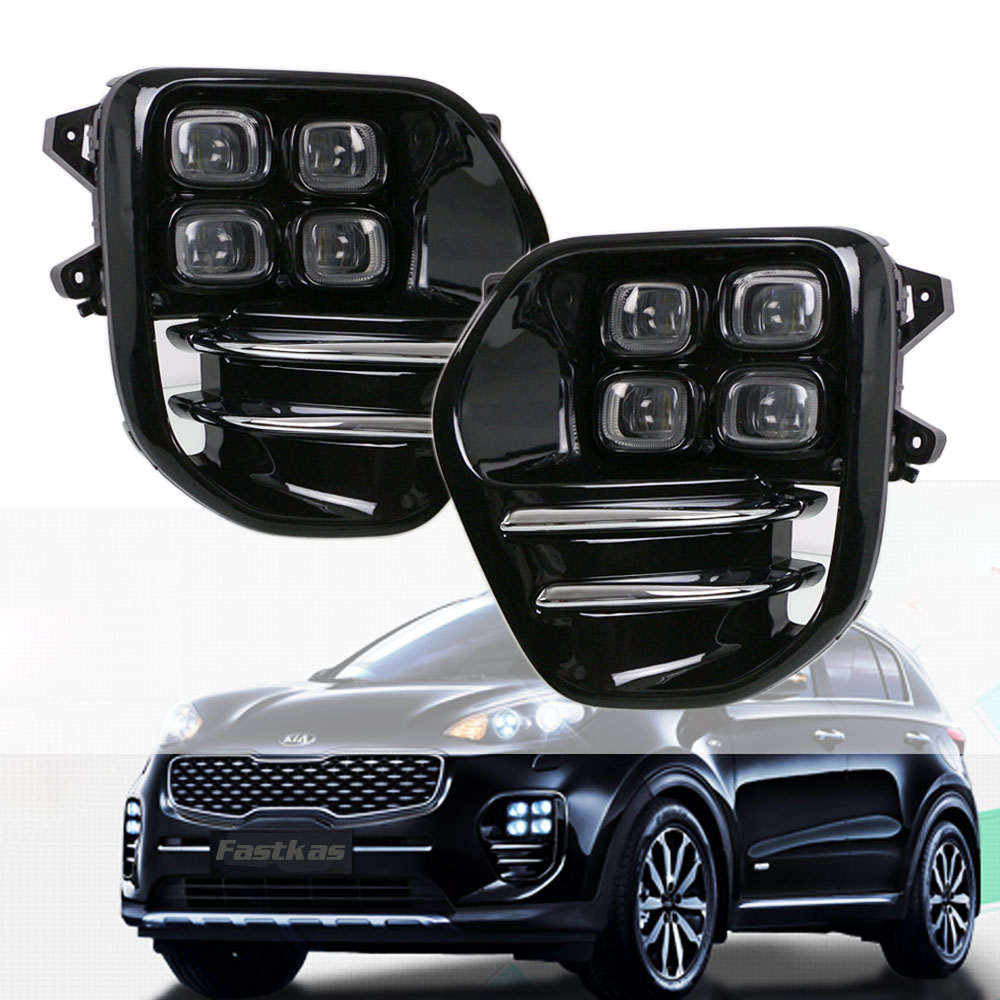 Full set Car LED Fog Lights Lamp Daytime Running Lights for KIA Sportage QL KX5 2016 2017 2018 DRL waterproof car driving lamps 2 pcs set stainless steel car air vent circle trim air conditioner protection sticker for kia sportage kx5 ql 2016 2017 parts