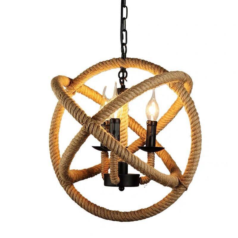 Retro Lamp Art Bar Cafe Spherical Restaurant  Bar Industrial Hemp Rope Chandelier