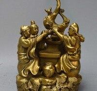 10 Chinese Brass Guan Yu Liu Bei Zhang Fei Oath Brotherhood Peach Garden Statue
