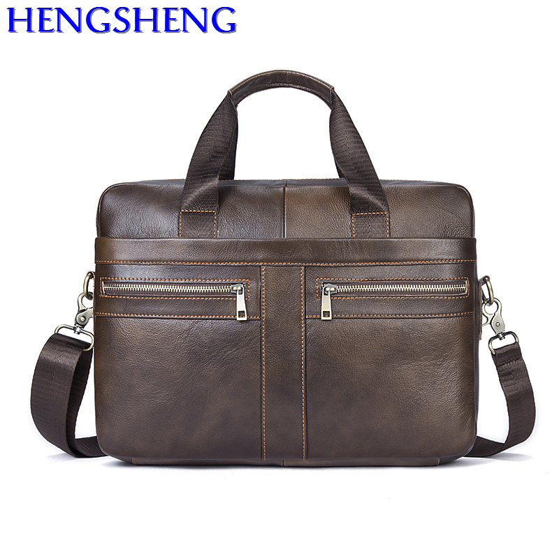 Free Shipping Business Genuine Leather Men Messengers Bag With Top Quality Cow Genuine Leather Men Briefcase Of Brown Men Bags