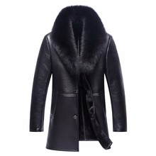 Brand clothing winter men s leather leather long section of wool fur jacket fur lapel casual