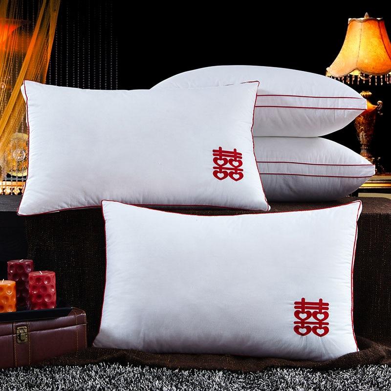US $43.8 |Camera da letto in cotone cuscini per dormire amanti fluffy collo  centro del cuscino nel letto cuscino ricamo di un pezzo di trasporto ...