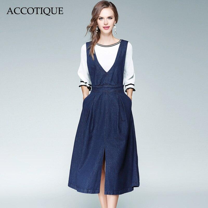 무료 배송 새로운 가을 여성 패션 솔리드 슬래시 목 슬림 화이트 니트 스웨터 + 데님 드레스 2 조각 세트 conjunto feminino-에서여성 세트부터 여성 의류 의  그룹 1