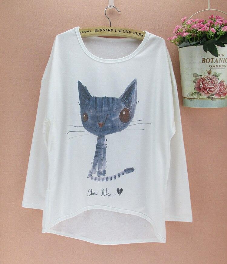 Cartoon Graffiti Cat Pattern Plus Size T Shirt Women New