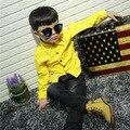 Мальчик с длинными рукавами рубашки Корейских детей осенью 2016 новый вельвет рубашка бесплатная доставка