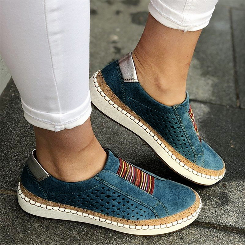 LITTHING 2019 Women Flats Shoes Sneakers Shallow Loafers Vulcanized Shoes Breathable Hollow Out Female Casual Ladies Plus 43