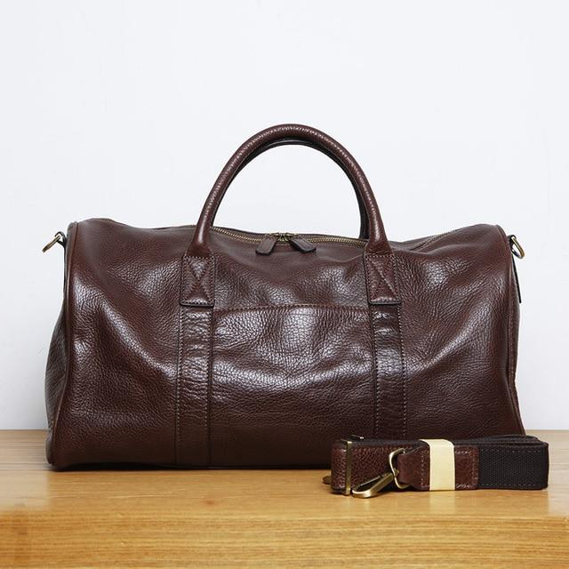 LANSPACE men's leathe travel bag fashion leather luggage fashion large size handbag 3