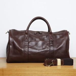 Image 3 - LANSPACE мужская кожаная сумка для путешествий модная кожаная сумка для багажа модная сумка большого размера