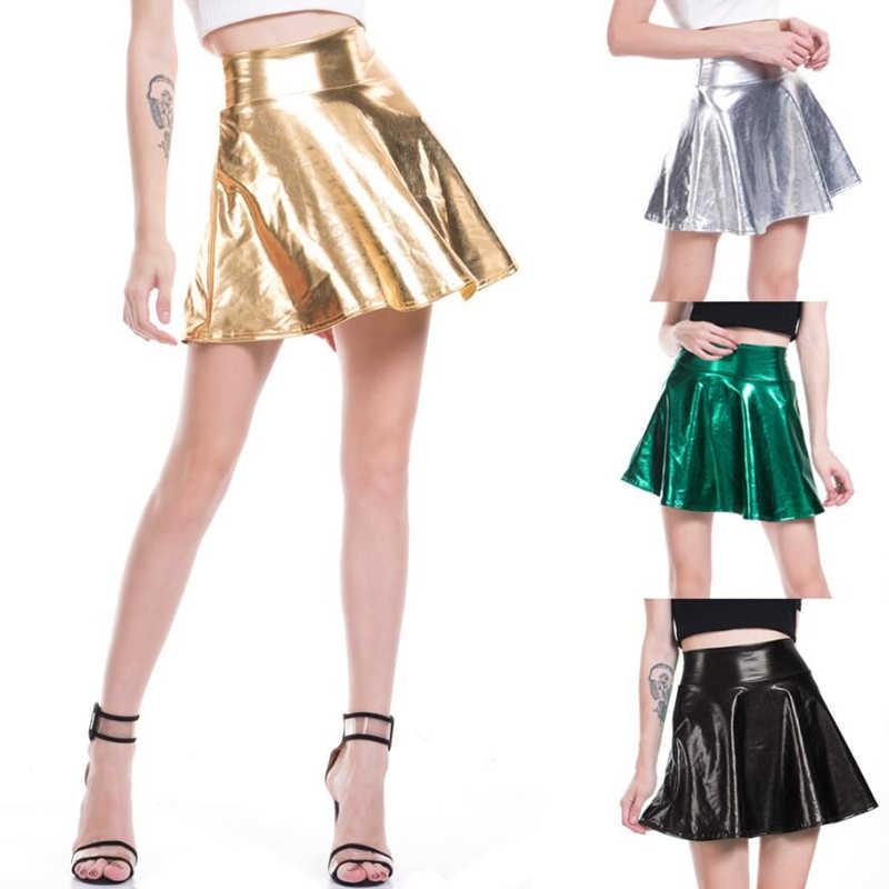 e06ce1065d ... CUHAKCI High Waist PU Skirts Women Casual Mini Gold Skirt Faux Leather  Skirt Skater PleatedFemale Silver