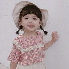 Летняя Клетчатая футболка принцессы с короткими рукавами для маленьких девочек модные хлопковые топы для девочек одежда для малышей от 2 до 7 лет