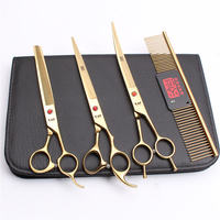 20Sets H3005 4Pcs 8.0 22cm Kasho JP 440C Wholesale Hairdresser For Dog Animal Flur Clippers Professional Pets Hair Scissors Kit