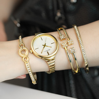 REBIRTH Diamond Gold Women Watches Luxury High Quality Montre Femme 2018 Dress Woman Clock Female Quartz Ladies Wristwatch set