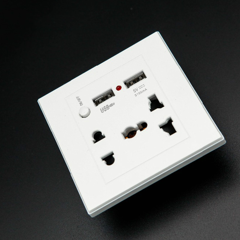 AC 110-250V 13A USB Wall Socket Universal Wall Socket Panel With 2 USB Port Plug Charger Switch Power Outlet EU US UK AU