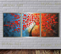 Facai tree modern fashionable hot sale combination oil painting 3 a set of hand painted abstract art wall and home decoration ha