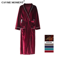 CAVME 2019 Summer CUSTOM Plus Size Bride Kimono Robes Bridemaid Velour Velvet Robe Nightgown Dressing Solid Color Three Quarter