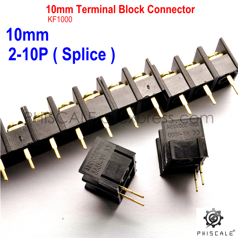 PHISCALE KF/DG1000 2-10Pin 10mm Pitch Terminal Block Connector 300V 25A 2/3/4/5/6/7/8/9/10/Pin