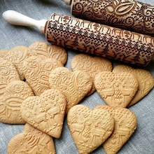 hristmas Embossing Rolling Pin Baking Cookies Noodle Biscuit Fondant Cake Dough Patterned Roller Snowflake Wood Engraved